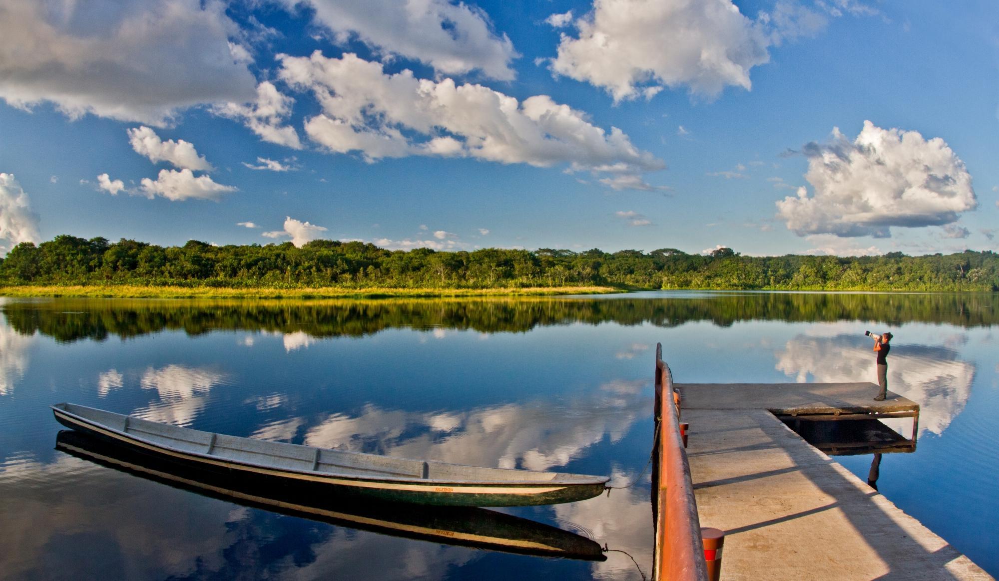 lake view from napo wildlife centre amazon ecuador