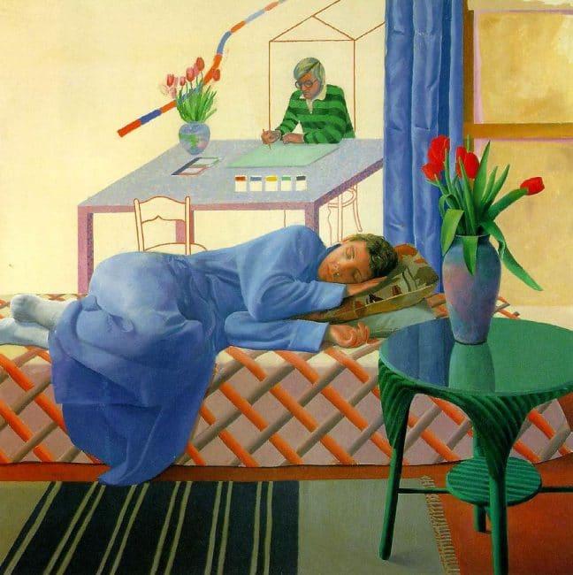 Model with Unfinished Self-Portrait David Hockney Tate Britain