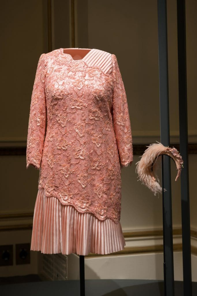 Crystal and lace peach beaded cocktail dress by Angela Kelly. Queen Elizabeth.