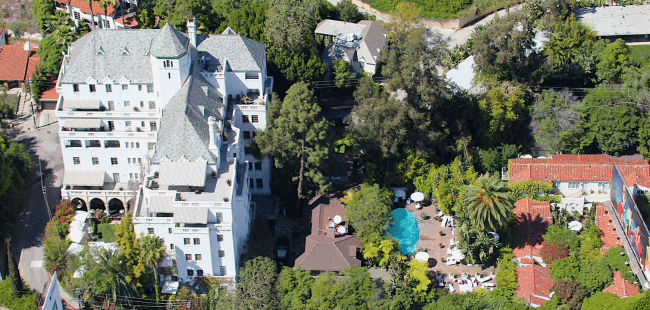Chateau Marmont Hotel from the air