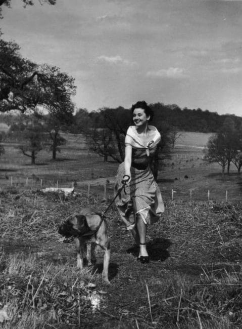 Actress Audrey Hepburn (1929 - 1993) exercising her dog in Richmond Park after a strenuous season in the London revue 'Sauce Piquante', 13th May 1950. Picture Post - 5035 - We Take A Girl To Look For Spring - pub. 1950 (Photo by Bert Hardy/Hulton Archive/Getty Images)